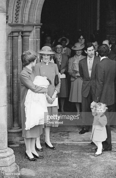 Diana Princess of Wales and Charles Prince of Wales attend the christening of goddaughter Alexandra Knatchbull at Romsey Abbey Hampshire UK 12th...