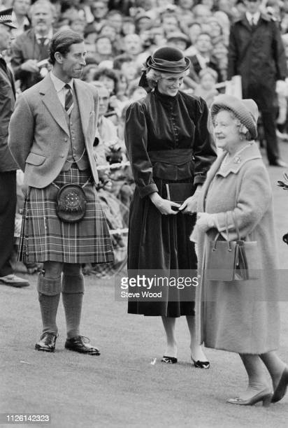Diana, Princess of Wales , and Charles, Prince of Wales, Queen Elizabeth The Queen Mother in Scotland, UK, 5th September 1983.