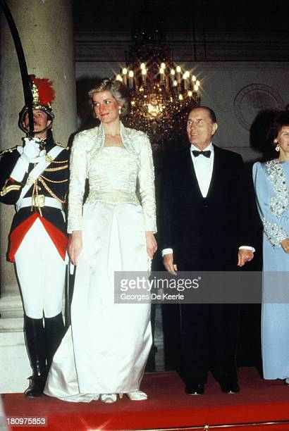 Diana Princess of Wales and former French President Francois Mitterrand attend a banquet hosted by Mitterrand at the Elysee Palace during her...