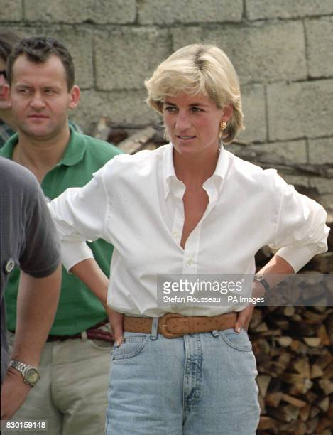 Diana Princess of Wales and her butler Paul Burrell meeting Bosnian Serbs and Muslims affected by landmines near Tuzla during the second day of her...