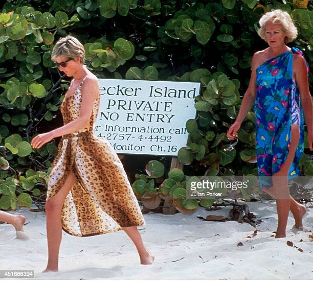 Diana Princess of Wales and her mother Frances Shand Kidd on Holiday In Necker Island In The Caribbean on April 11 in the British Virgin Islands