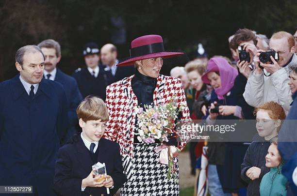 Diana Princess of Wales and her son Prince William attending the christening of Princess Eugenie at the church of St Mary Magdalene on the...