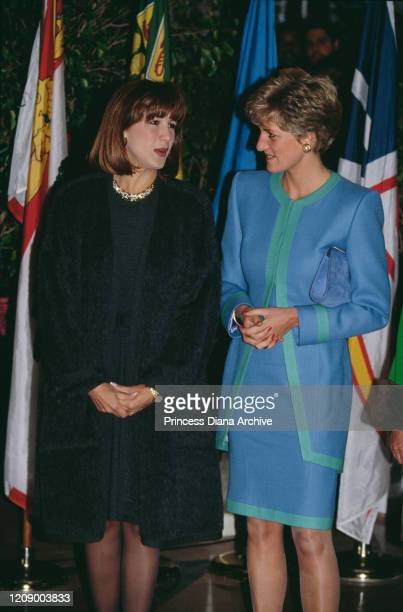 Diana Princess of Wales and Mila Mulroney the wife of the Canadian Prime Minister visit the Evergreen national exhibition of art and photography in...