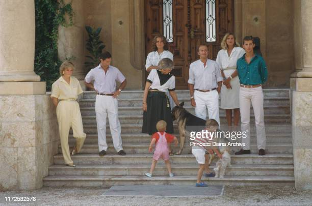 Diana, Princess of Wales and Prince Charles and their sons William and Harry on holiday with the Spanish royal family at the Marivent Palace in Palma...