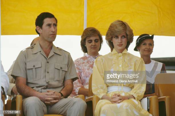 Diana, Princess of Wales and Prince Charles at their official welcome ceremony in Alice Springs, Australia, March 1983.
