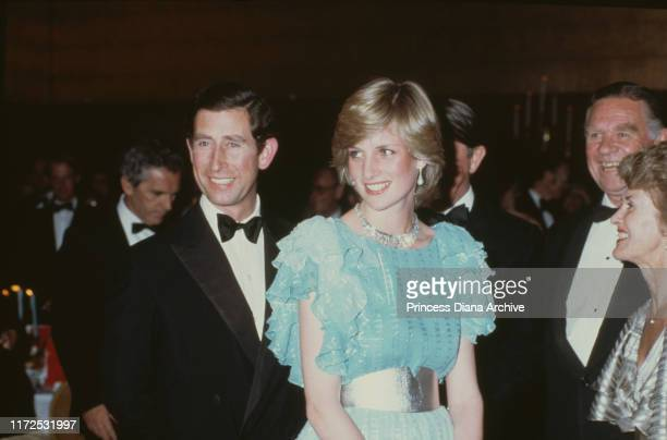 Diana, Princess of Wales and Prince Charles attend a gala dinner and dance at the Wentworth Hotel in Sydney, Australia, March 1983. Diana is wearing...