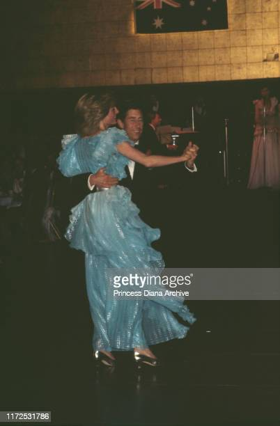 Diana, Princess of Wales and Prince Charles dancing at a gala charity dinner and dance at the Wentworth Hotel in Sydney, during their tour of...