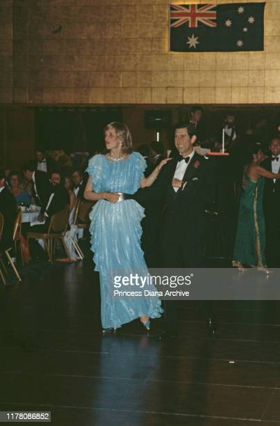 Diana, Princess of Wales and Prince Charles dancing at a gala dinner and dance at the Wentworth Hotel in Sydney, Australia, March 1983. Diana is...