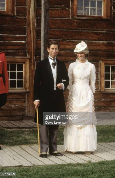 Diana Princess of Wales and Prince Charles dressed up in Edwardian fashion for a Klondike evening barbeque on June 29 1983 at Ford Edmonton in...