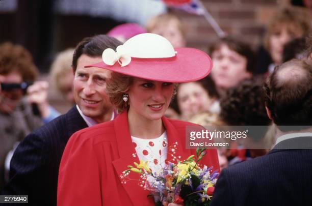 Diana Princess of Wales and Prince Charles during a visit to Newcastle on May 21 1985