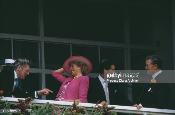 Diana Princess of Wales and Prince Charles during Derby Day at Epsom UK June 1987