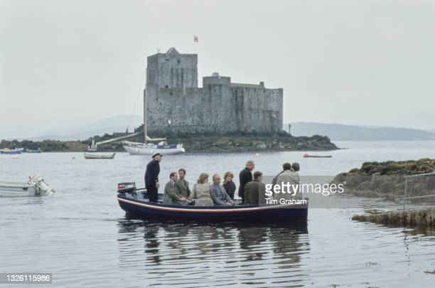 Diana, Princess of Wales and Prince Charles in Castlebay on the island of Barra, in the Outer Hebrides of Scotland, 3rd July 1985. Kisimul Castle is...