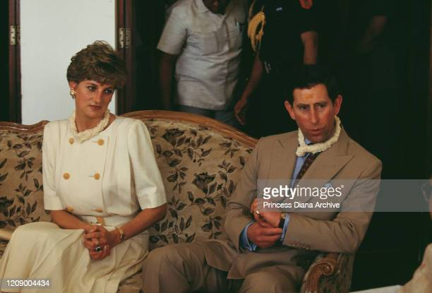 Diana Princess of Wales and Prince Charles in Hyderabad India February 1992 Diana is wearing a traditional tilak on her forehead