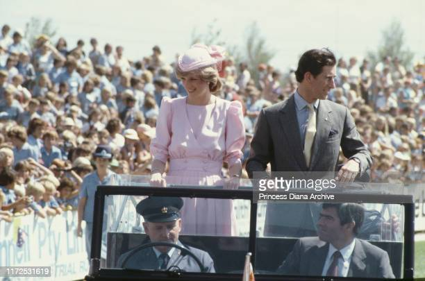 Diana, Princess of Wales and Prince Charles in Newcastle, Australia, March 1983. Diana is wearing a Catherine Walker dress and a hat by John Boyd.