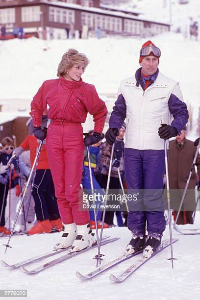 Diana Princess of Wales and Prince Charles pose for a photocall on January 24, 1985 at the beginning of their ski holiday in Vaduz, Liechtenstein.