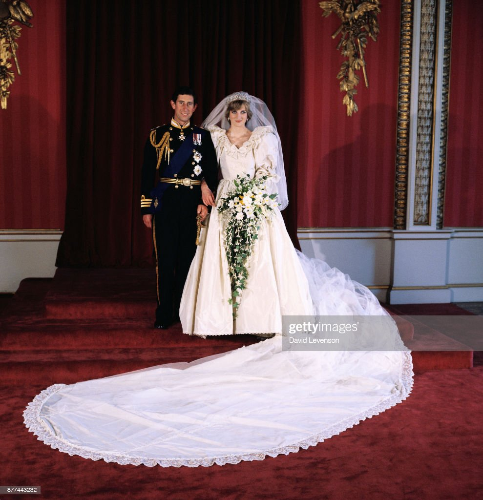 Diana, Princess of Wales and Prince Charles pose for the official photograph by Lord Lichfield in Buckingham Palace at their wedding on July 29, 1981 in St. Pauls Cathedral, London.