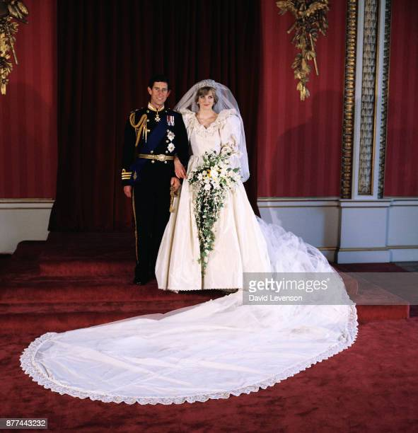 Diana, Princess of Wales and Prince Charles pose for the official photograph by Lord Lichfield in Buckingham Palace at their wedding on July 29, 1981...