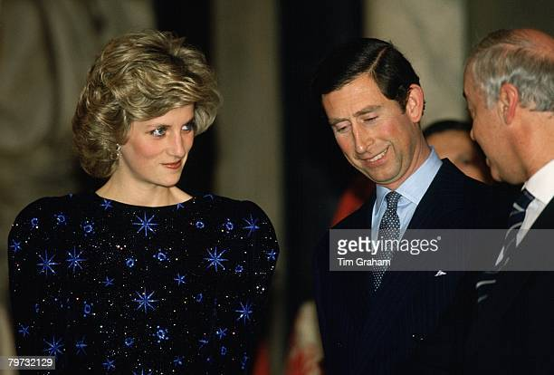 Diana Princess of Wales and Prince Charles Prince of Wales in Florance during a royal tour Diana wears a dress designed by fashion designer Jacques...