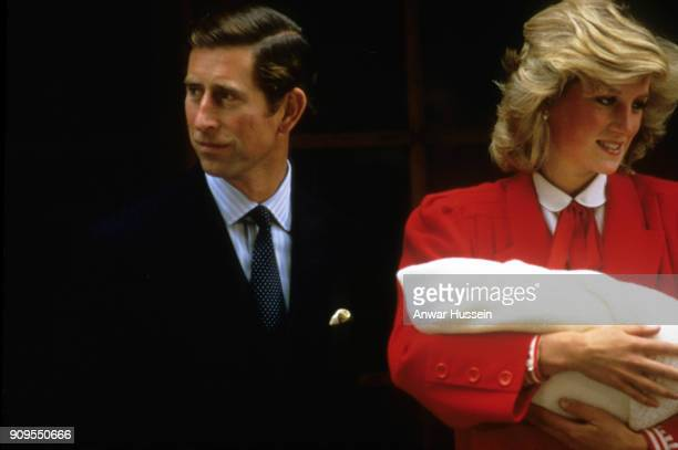 September 16: Diana, Princess of Wales and Prince Charles, Prince of Wales leave the Lindo Wing of St. Mary's Hospital following the birth of Prince...