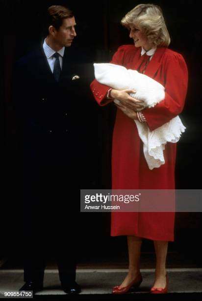 Diana Princess of Wales and Prince Charles Prince of Wales leave the Lindo Wing of St Mary's Hospital following the birth of Prince Harry on...