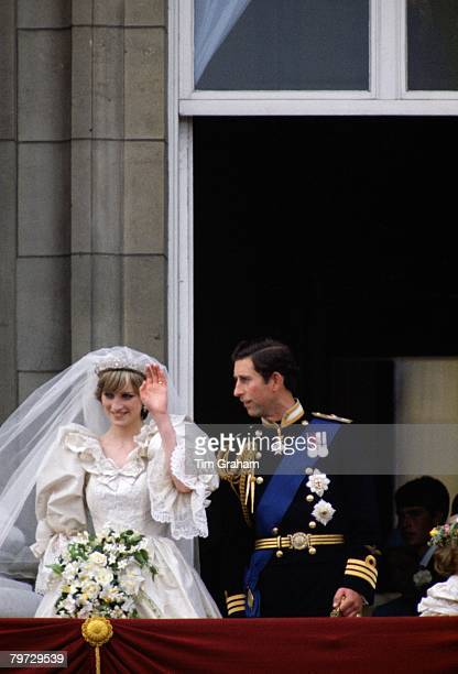 Diana Princess of Wales and Prince Charles Prince of Wales on the balcony of Buckingham Palace on their wedding day