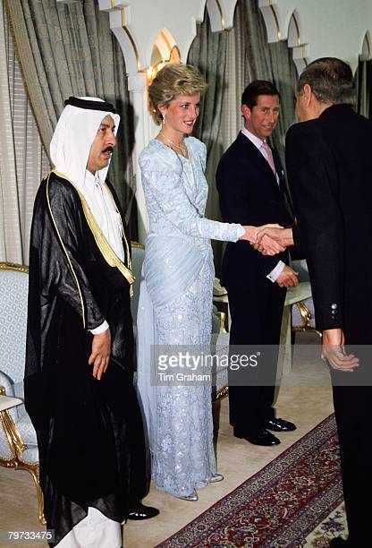 Diana Princess of Wales and Prince Charles Prince of Wales visit Qatar during a Gulf tour