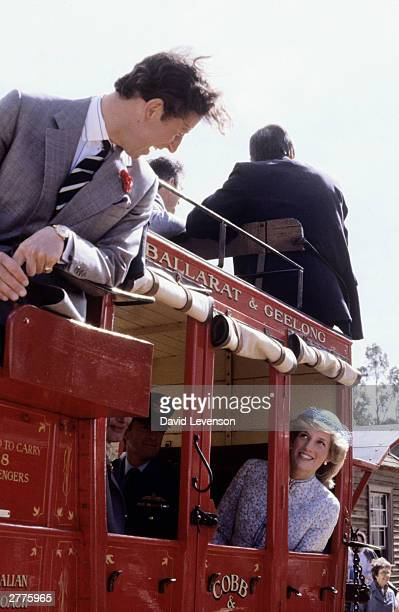 Diana Princess of Wales and Prince Charles ride on a stagecoach through Sovereign Hill on April 15 1983 in Ballarat Australia during the Royal Tour...