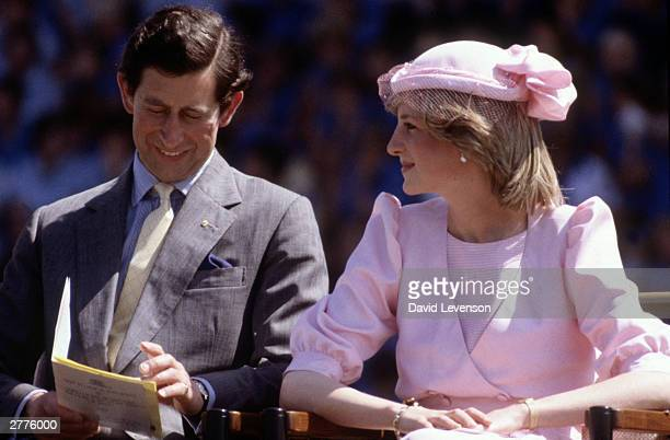 Diana Princess of Wales and Prince Charles visit Newcastle Australia on March 29 1983 during the Royal Tour of Australia Diana wore a dress by...