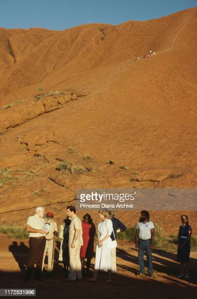 Diana Princess of Wales and Prince Charles visit Uluru or Ayers Rock in Australia March 1983