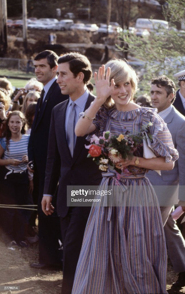 Diana Princess of Wales and Prince Charles visit victims of bushfires in Cockatoo, near Melbourne : News Photo
