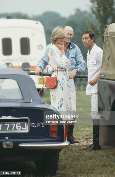 Diana, Princess of Wales and Prince Charles with Major Ronald Ferguson at a polo match on Smith's Lawn, Guards Polo Club, Windsor, 6th July 1983.