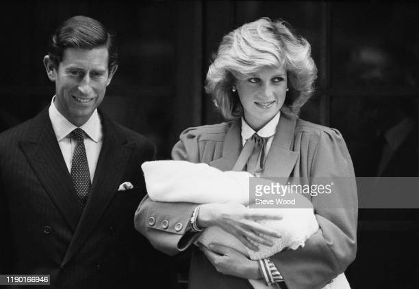 Diana Princess of Wales and Prince Charles with newborn Prince Harry, leave St Mary's Hospital in Paddington, London, UK, 16th September 1984; Diana...