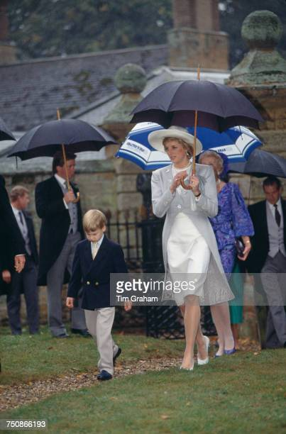 Diana Princess of Wales and Prince William at the wedding of Diana's brother Charles Spencer Viscount Althorp and Victoria Lockwood at at the Church...