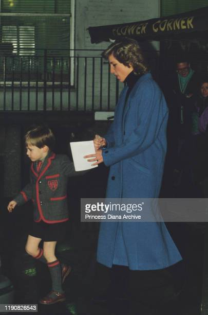 Diana, Princess of Wales and Prince William attend the St Mary Abbots Church Christmas concert in Kensington, London, 15th December 1987. Prince...