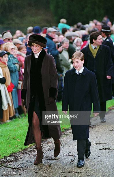 Diana Princess of Wales and Prince William attending Christmas Day Service at Sandringham