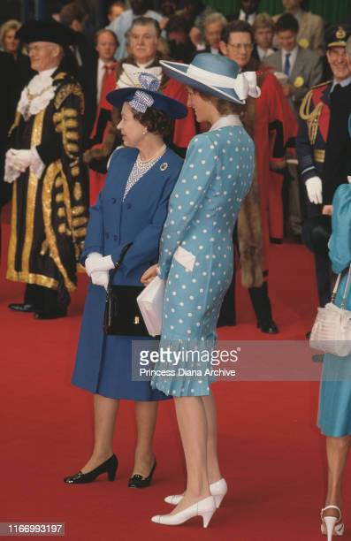 Diana, Princess of Wales and Queen Elizabeth II waiting at Victoria Station in London at the start of a State Visit by West German President Richard...