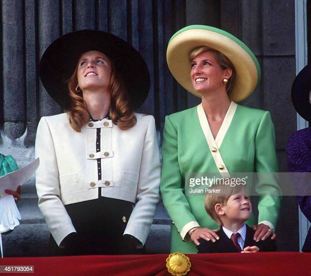 KINGDOM SEPTEMBER 15 Diana Princess of Wales and Sarah Duchess of York and Prince Harry attend the 50th Anniversary of The Battle of Britain Parade...