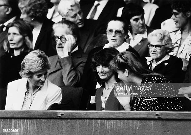 Diana Princess of Wales and Sarah Duchess of York are amongst the spectators at Wimbledon London 27th June 1988