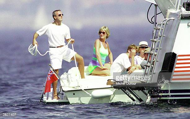 Diana Princess of Wales and son HRH Prince William are seen holidaying with Dodi Al Fayed in St Tropez in the summer of 1997 shortly before Diana and...