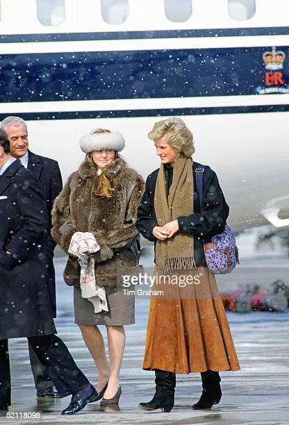 Diana Princess Of Wales And The Duchess Of York Arriving At Zurich Airport For A Skiing Holiday