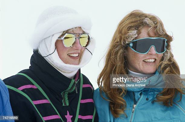 Diana Princess of Wales and The Duchess of York attend an official photo call during their ski holiday in Klosters February 1987