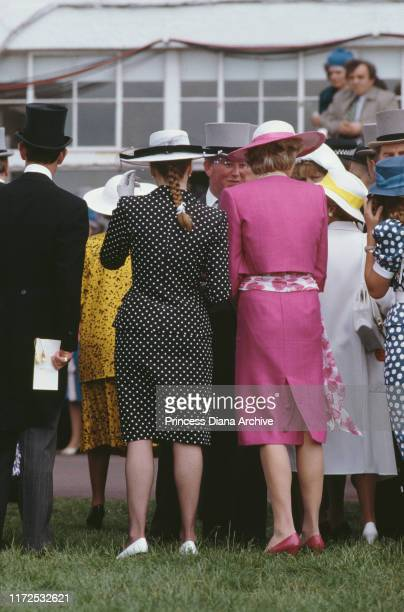 Diana, Princess of Wales and the Duchess of York during Derby Day at Epsom, UK, June 1987.