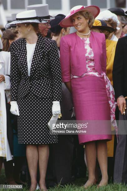 Diana Princess of Wales and the Duchess of York during Derby Day at Epsom UK June 1987