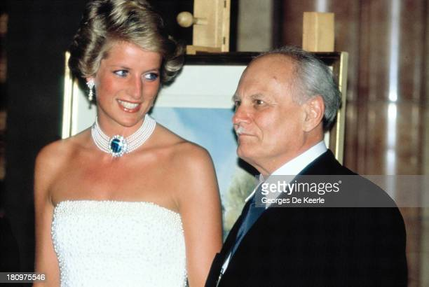 Diana Princess of Wales and the former Hungarian President Arpad Goncz attend a State Banquet at Parliament Building during her official visit to...