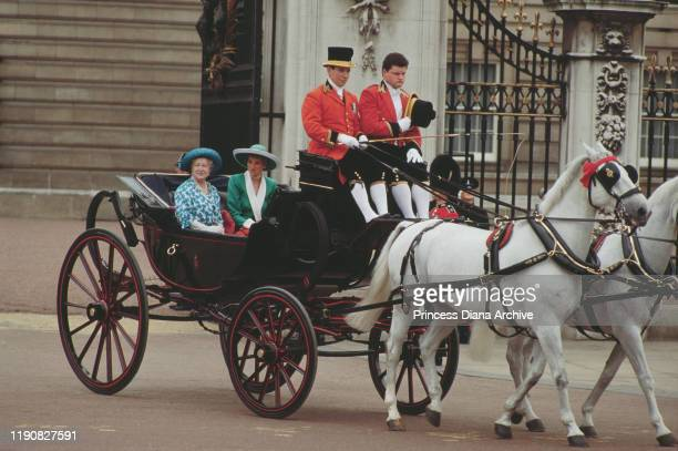 Diana, Princess of Wales and the Queen Mother in a carriage during the Trooping the Colour ceremony at Buckingham Palace in London, June 1988. Diana...