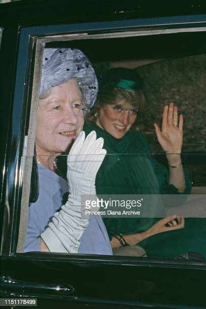 Diana, Princess of Wales and the Queen Mother on their way to Crathie Church in Balmoral, Scotland, September 1982.