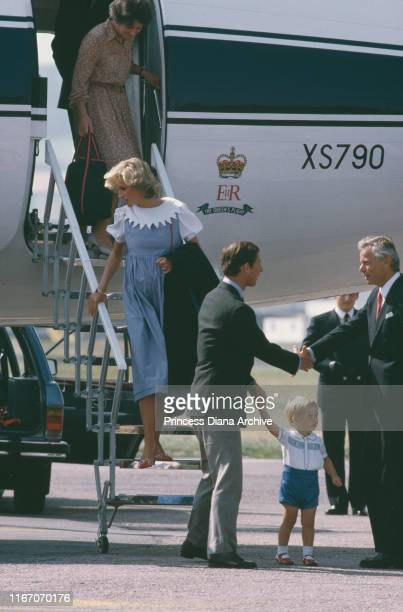 Diana Princess of Wales arrives at Aberdeen airport in Scotland on The Queen's Flight with Prince Charles and their son Prince William August 1984...
