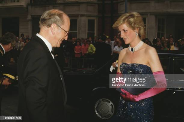 Diana, Princess of Wales arrives at Claridge's Hotel in London for a party held by the former King Constantine of Greece, July 1986.
