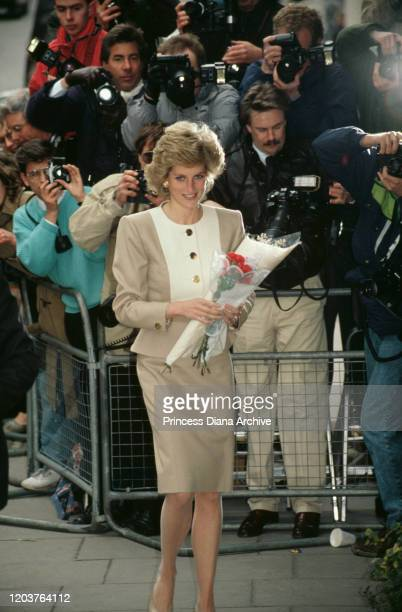 Diana Princess of Wales arrives at Claridge's Hotel in London for a charity lunch April 1989 She is wearing a suit by Catherine Walker