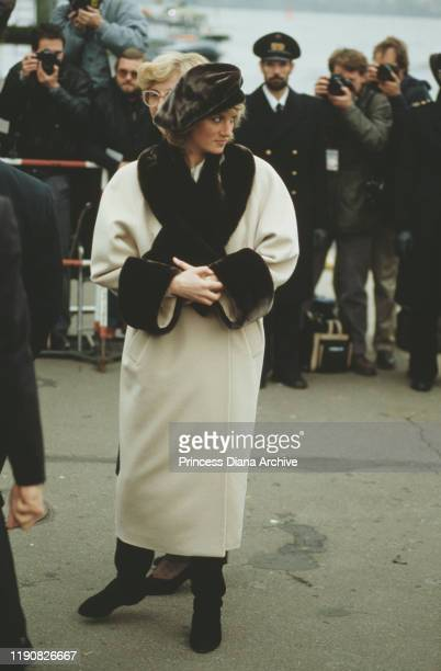 Diana, Princess of Wales arrives at Hamburg airport in Germany, November 1987.